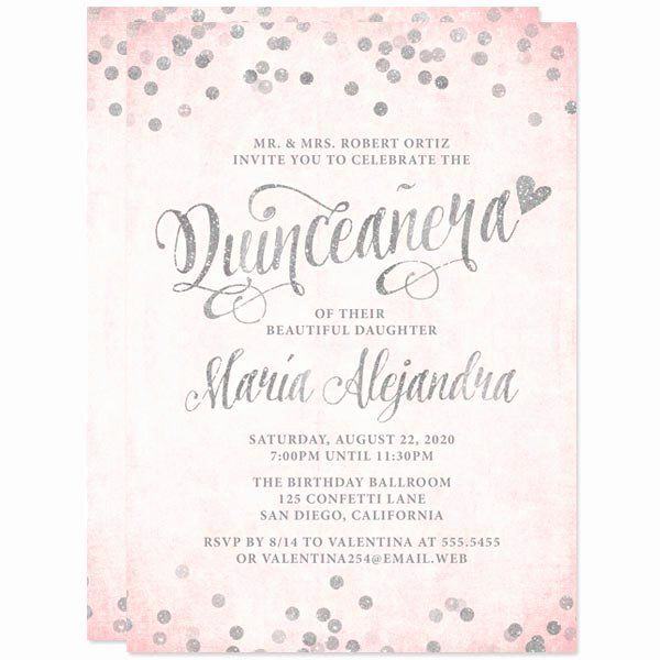 Make Your Own Quinceanera Invitation Lovely Quinceanera Invitations Blush Pink Silve Quinceanera Invitation Wording Quinceanera Invitations Quince Invitations