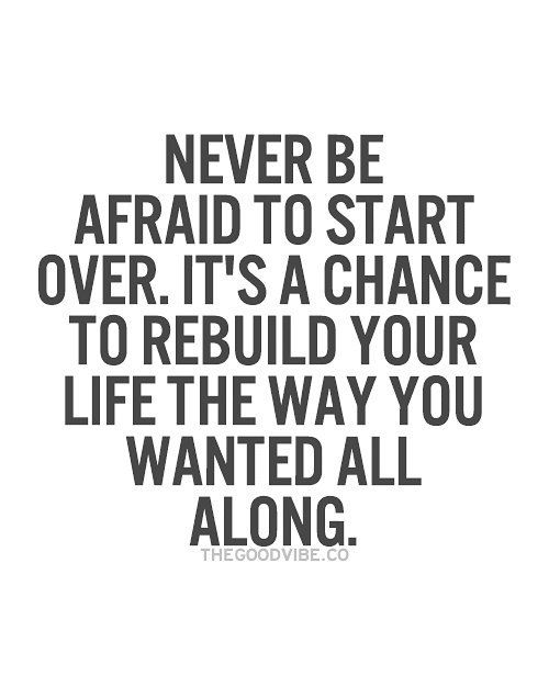 Never Be Afraid To Start Over It's A Chance To Rebuild Your Life Cool Quotes About Change In Life