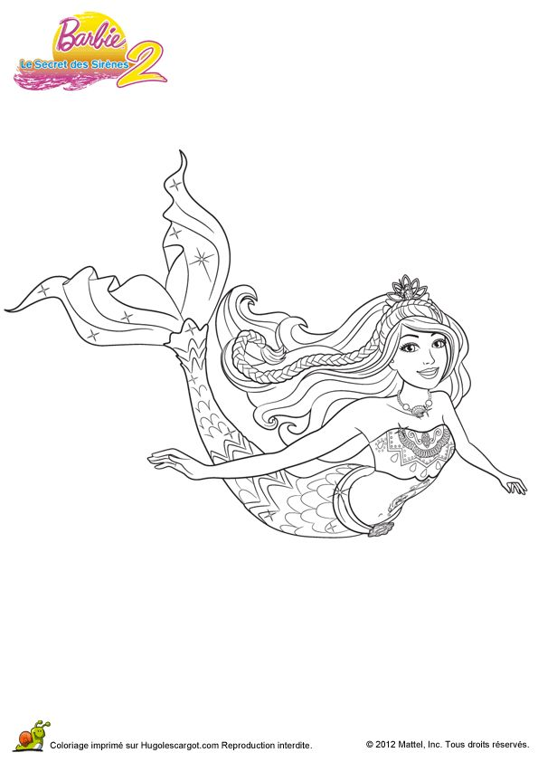 Coloriage barbie secret des sirenes 2 02 sur Hugolescargot.com - Hugolescargot.com