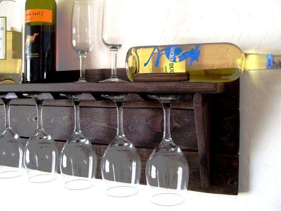Unique Wine Rack Pallet Wood Wine Rack Dark Walnut di TheVineyards