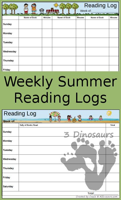 Free Weekly Summer Reading Charts - Tally and Minutes: beach, summer, dinosaur, book and ocean themes - 3Dinosaurs.com
