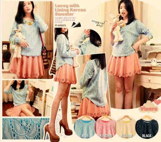 Korean lace sweater Bahan: Lace HQ, tdk menerawang. Size: fit L Hrg: 66rb  Invite pin: 26BCB119 SMS: 089660776162