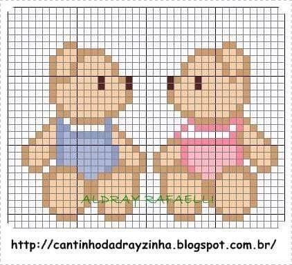 Boy and girl teddy bears