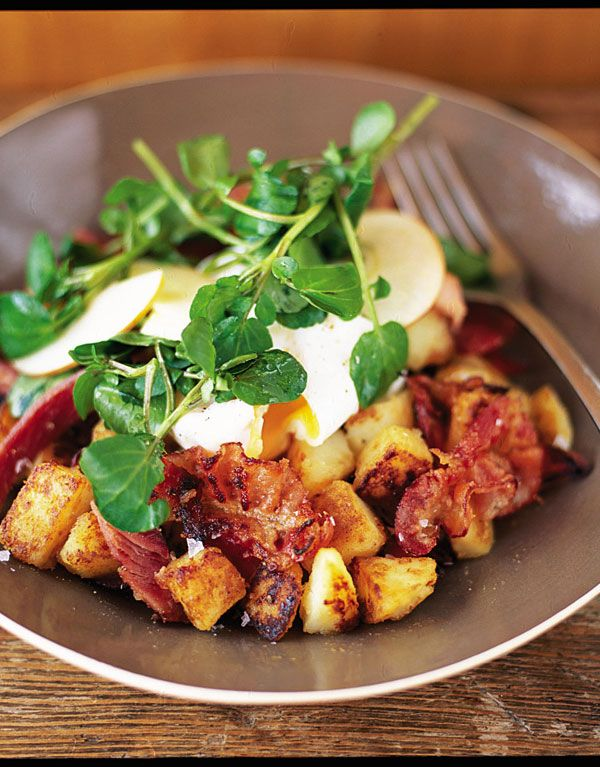 Pancetta Hash with Eggs & Apple Breakfast Salad