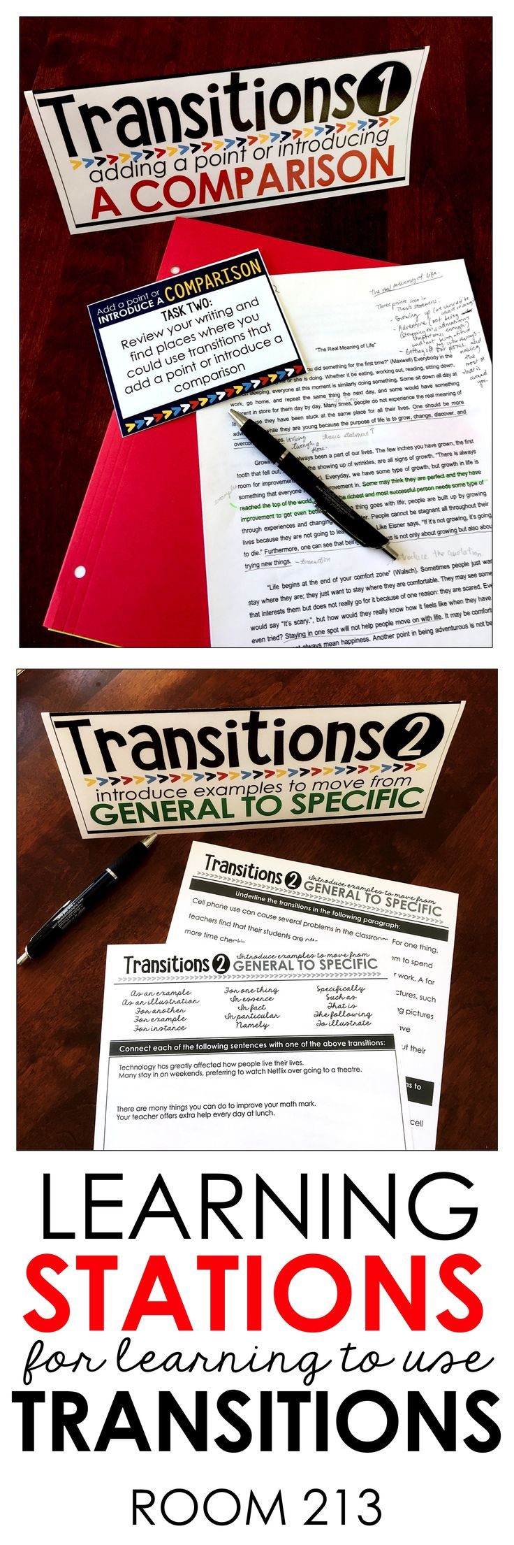 Writing lessons for middle and high school English: give your students lots of practice with using transitions effectively. Come to Room 213 to check it out!