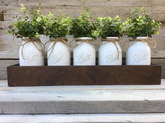 5 Quart Mason Jar Centerpiece Farmhouse Table Decor Boxwood