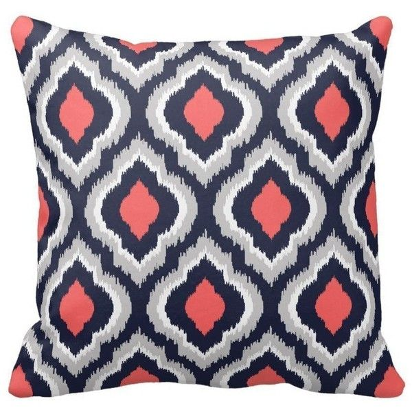 graycoral pink and navy blue moroccan pillow home sofa decorative