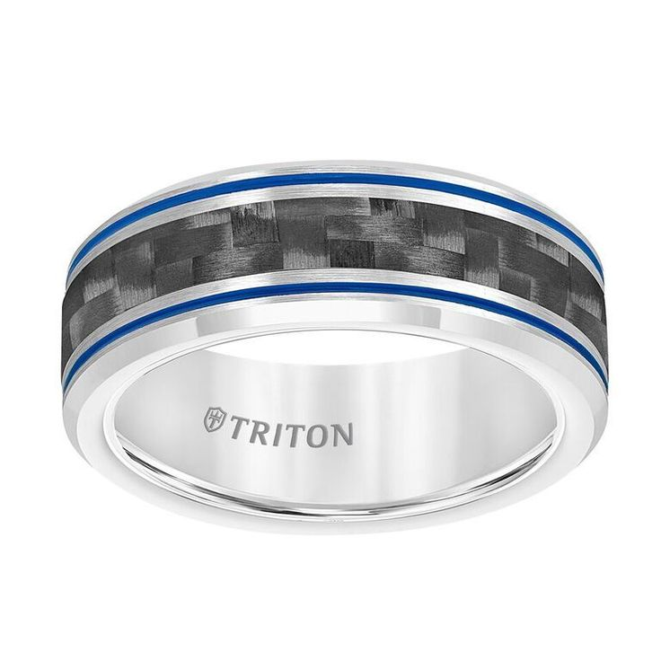 Triton Tungsten Carbide Wedding Band with Blue Stripes