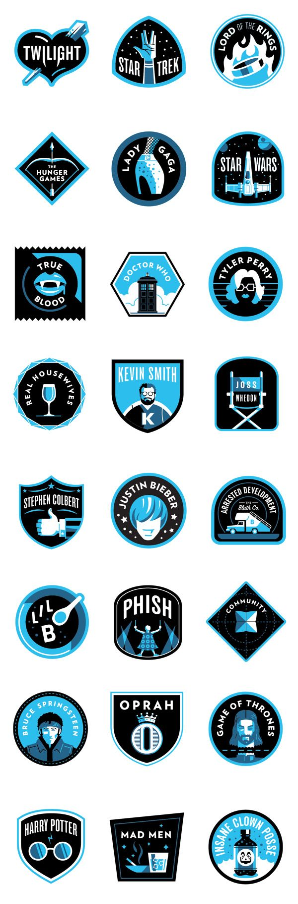 A series of 26 badges for the Vulture[dot]com Most Devoted Fanbase series