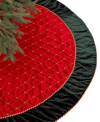 Holiday Lane Red & Green Velvet Christmas Tree Skirt- in whites and golds