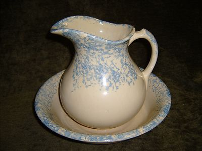 roseville basin bowl with a pitcher blue spongeware ebay