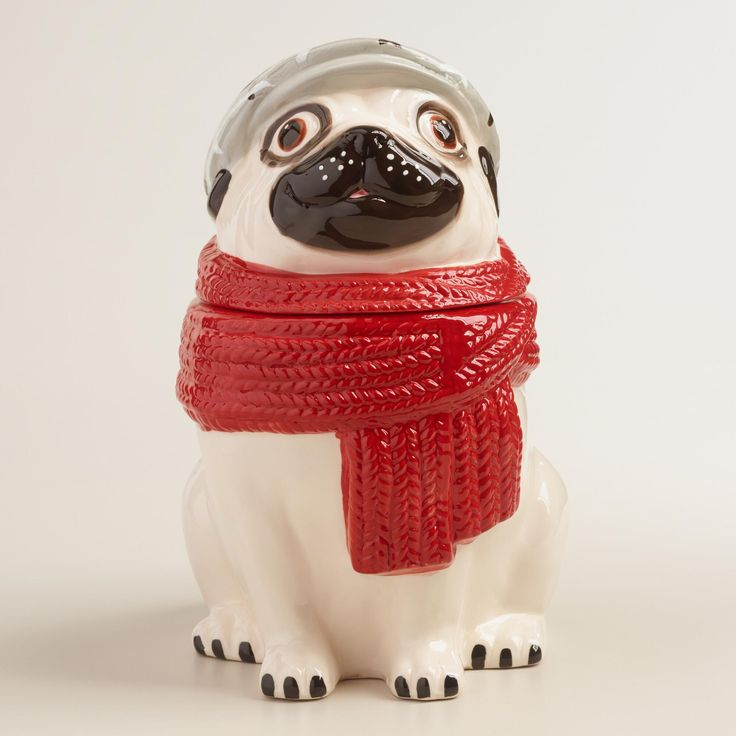 A perfect gift for dog lovers, our ceramic treat jar showcases a happy pug wearing a hat and scarf with adorable painted details. www.worldmarket #WorldMarket Home Decor