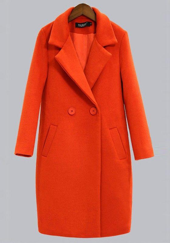 Orangrot Taschen V-Ausschnitt Langarm Winter Mantel Lange Wollmantel Damen Günstig
