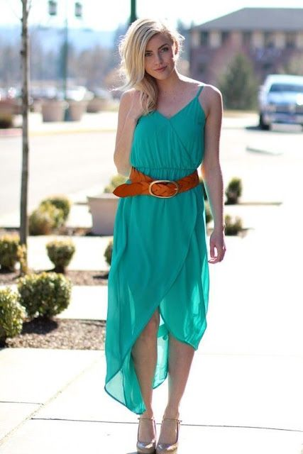 Fashion trends | Teal maxi dress with brown belt