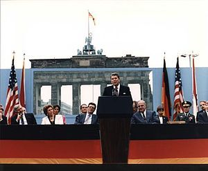 1987: Tear Down This Wall, the challenge made at the Brandenburg Gate by U.S. President Ronald Reagan to Soviet leader Mikhail Gorbachev to destroy the Berlin Wall.