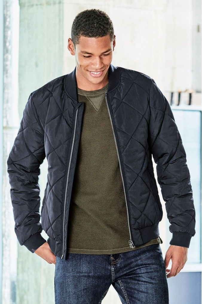 Mens Next Navy Quilted Bomber Jacket Blue Bomber Jacket Men Bomber Jacket Quilted Bomber Jacket