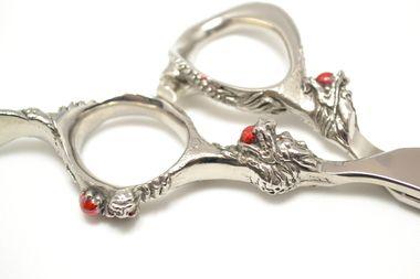 "Get this 6"" dragon handle motif shear shipped today. Beautiful, sharp and comfortable"