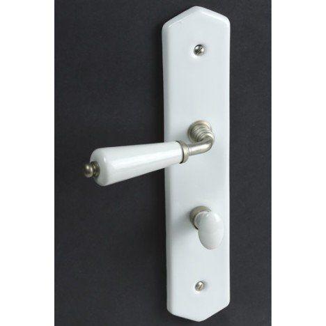 Poignée de porte condamnation, porcelaine de limoges, 195 mm