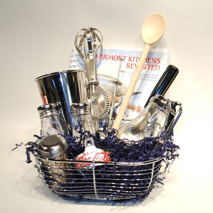 **GIFT BASKET OF CLASSIC KITCHEN TOOLS....PERFECT HOUSEWARMING GIFT!!**  Google Image Result for http://heroswelcome.com/images/P/giftbasket-retro-kitchen-tools.JPG