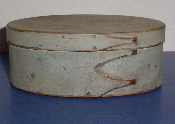 19th C Pantry Box Oval Wooden Shaker Three Fingers Faded Old Light Blue Paint             eBay  sold   900.00.     ...~♥~