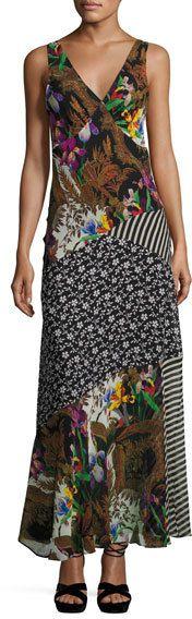 Etro Patchwork Floral Silk Maxi Dress, Black