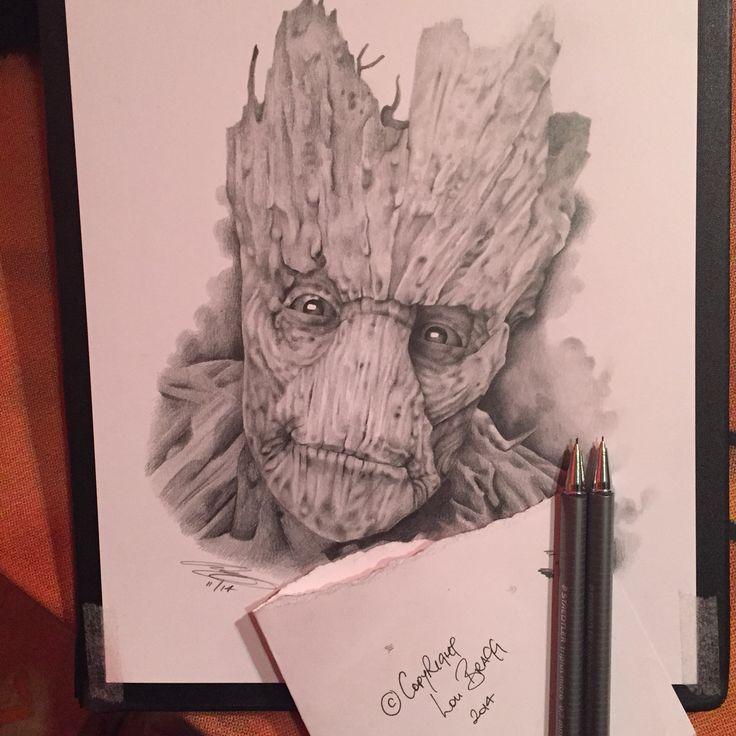 Groot drawn using mechanical pencil on Bristol Board
