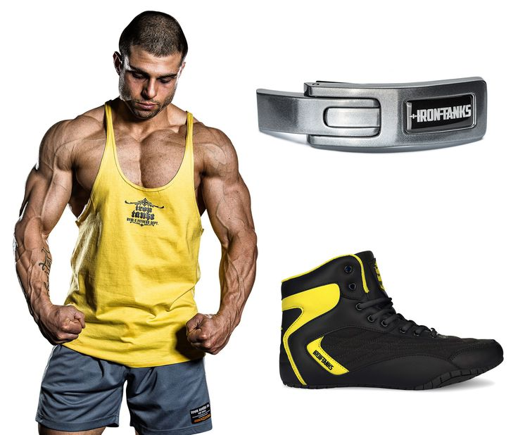 The 'I'm ready to dominate 2017 starter (& finisher) pack' ✔ Arnold Yellow Marauder ✔ 'Steel' Lever Belt Buckle ✔ Orion Genesis Gym Shoe This setup & many more only available at irontanksgymgear.com Built #Iron Tough