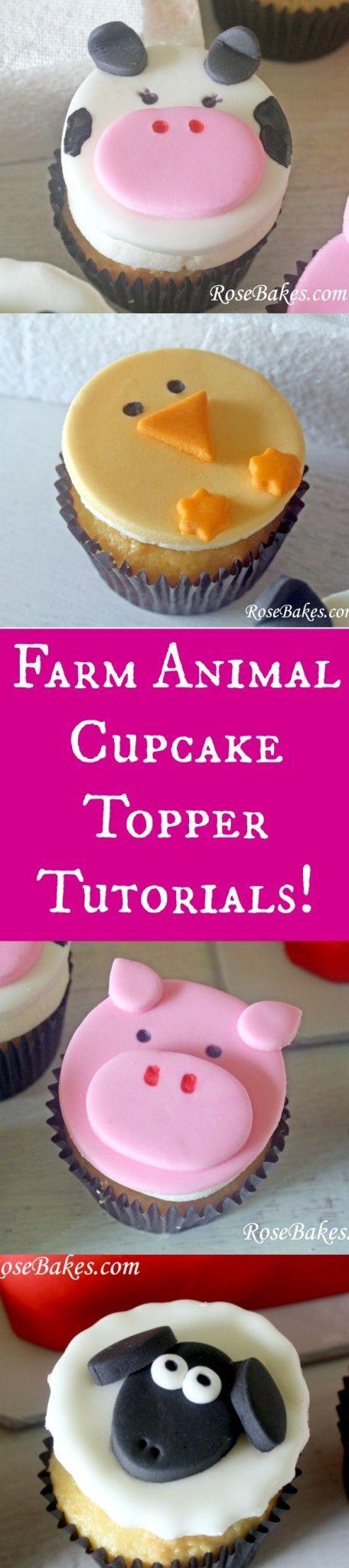 Farm Animals Cupcake Toppers Tutorials | RoseBakes.com