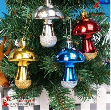 050943 4 шт./лот Новогодние елочные украшения 9 см красочный свет гриб повесить праздник статьи