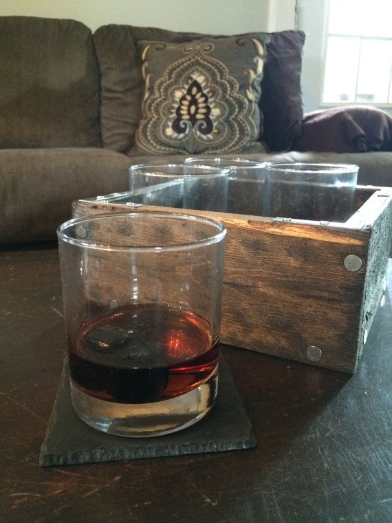 Crafted from recycled wooden pallets. Holds 4 whiskey glasses comfortably. Adds a lot of charm to any room and makes a great gift for whiskey lovers