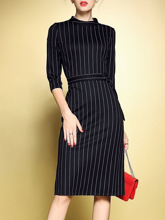 Reach for a black vertical striped fitted dress to feel confidently and look fashionably.   Shop this look on Lookastic: https://lookastic.com/women/looks/black-vertical-striped-sheath-dress-red-suede-clutch/23655   — Red Suede Clutch  — Black Vertical Striped Sheath Dress