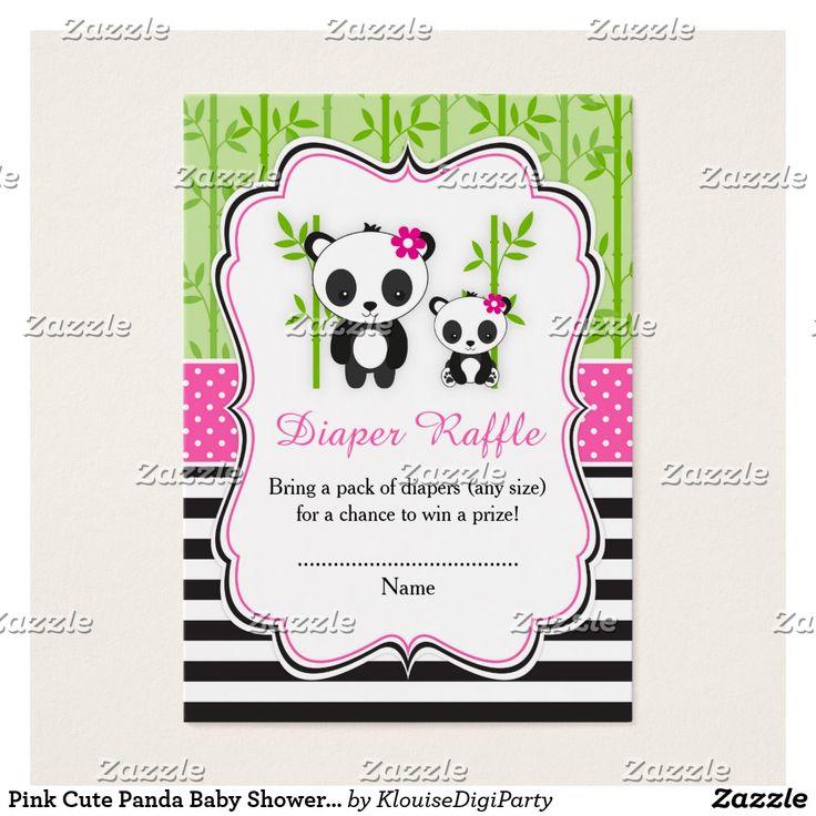 Pink Cute Panda Baby Shower Diaper Raffle Business Card