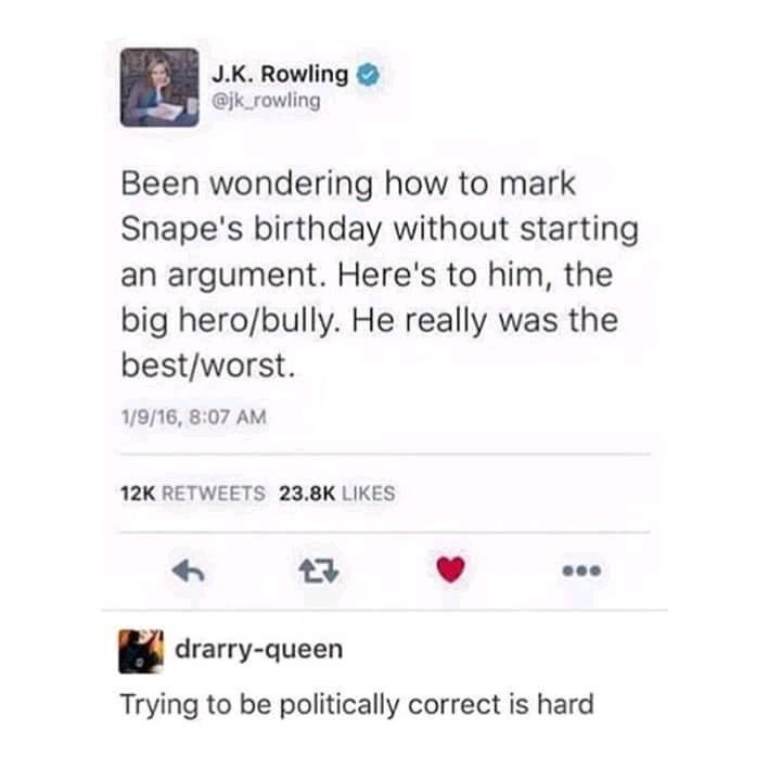 Trying To Be Politically Correct Is Hard Harry Potter