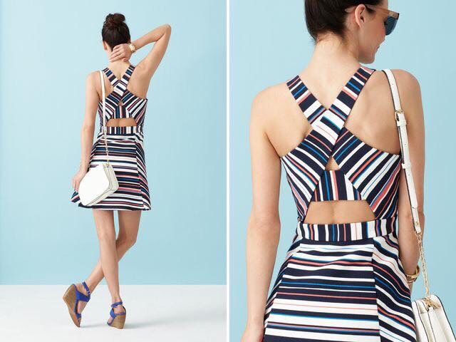 Love this dress!!! Stripes, colors, a-line and back detail!! Likely in a small.