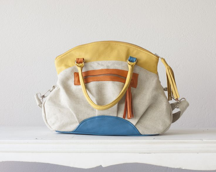 Arethusa bag in beige canvas and Yellow leather von Handmade Bags, makeup bags, wallets and clutches  by Milloo auf DaWanda.com