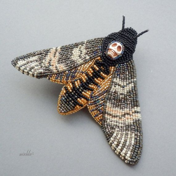 Bead Embroidered Brooch Death'shead Hawkmoth by beadedmischka Wow, this is somewhat disturbing