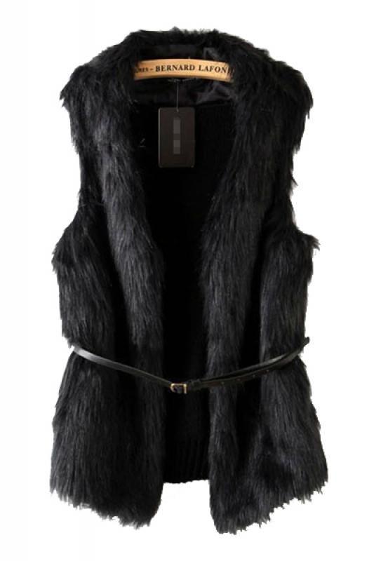Black Back Knit Splicing Faux Fur Gilet