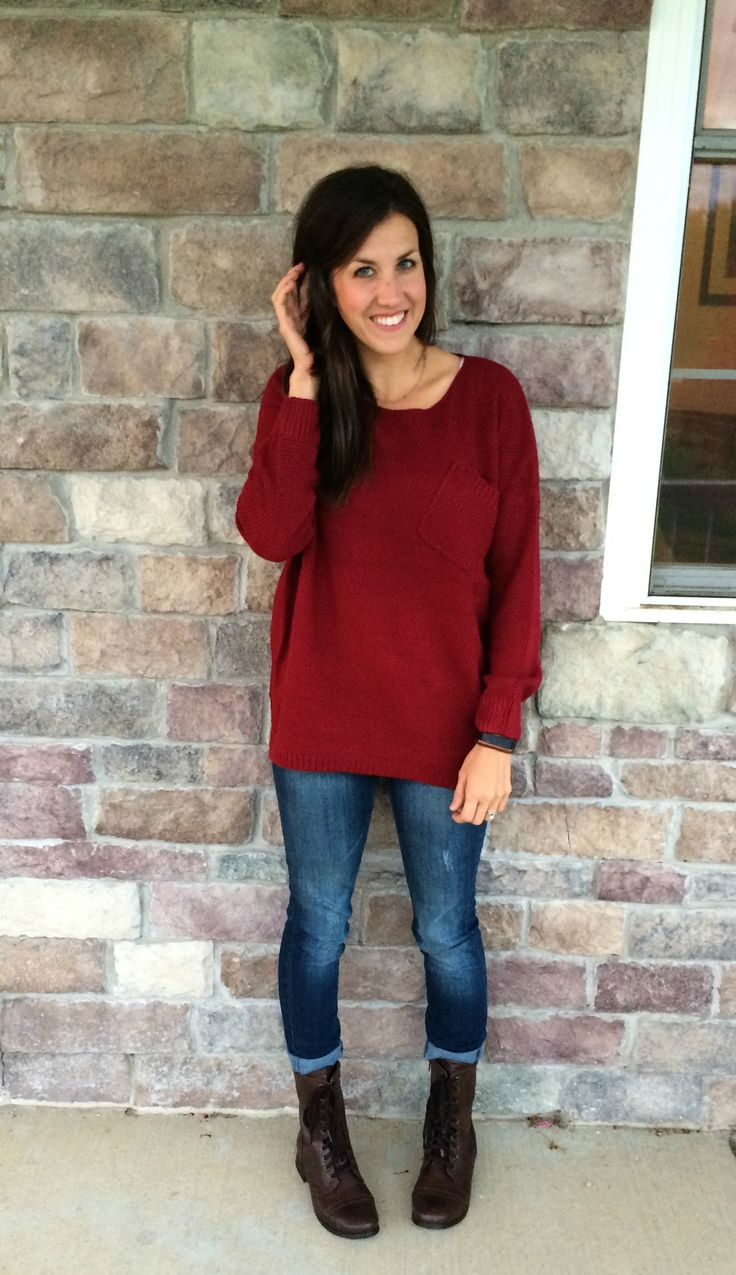 Maroon Sweater, Skinny Jeans, Brown Combat Boots outfit