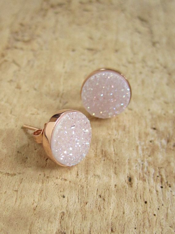Super cute--NEW Natural Druzy Rose Gold Studs Titanium Drusy Quartz Earrings Rose Gold Vermeil Bezel Set