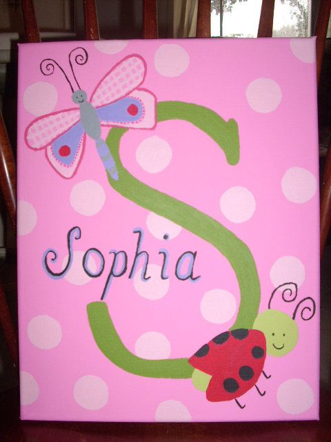 Custom Hand-Painted Canvas with Child's Name Ladybug and Dragonfly Theme via Etsy