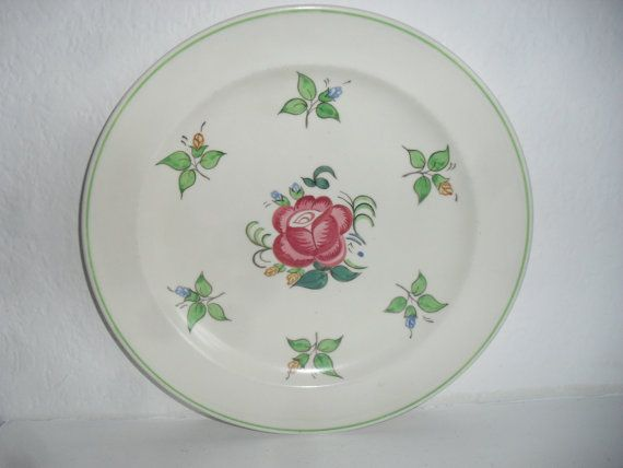 Poole Pottery 1960s Vintage Ceramic Plate Painted Pink Rose Mid Century Ceramics Signed Vintage Decor Shop & 181 best Poole Pottery A images on Pinterest | Pottery Vases and Clay
