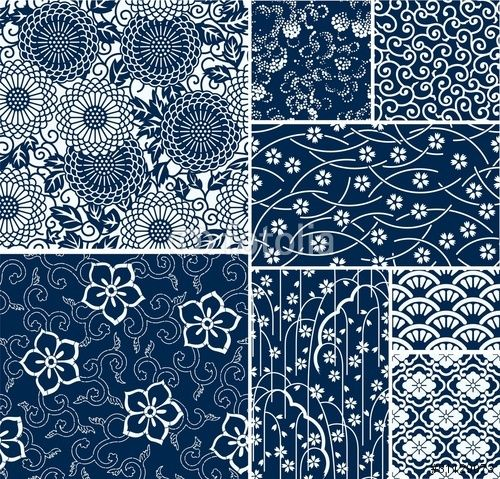 Vector: traditional japanese seamless vector patterns