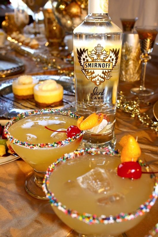 Pineapple Upside-Down Cake Drink Recipe ~ 1 Oz. Smirnoff Iced Cake Flavored Vodka,1 Oz. Orange Juice,1 Oz. Pineapple Juice