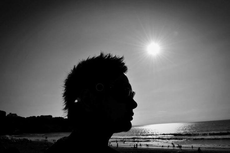 B&W + contre jour + soleil + plage + anglet