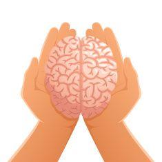 Hands Holding Brain vector art illustration