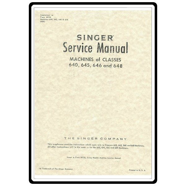 Check out the deal on Service Manual, Singer 640 at Sewing Parts Online