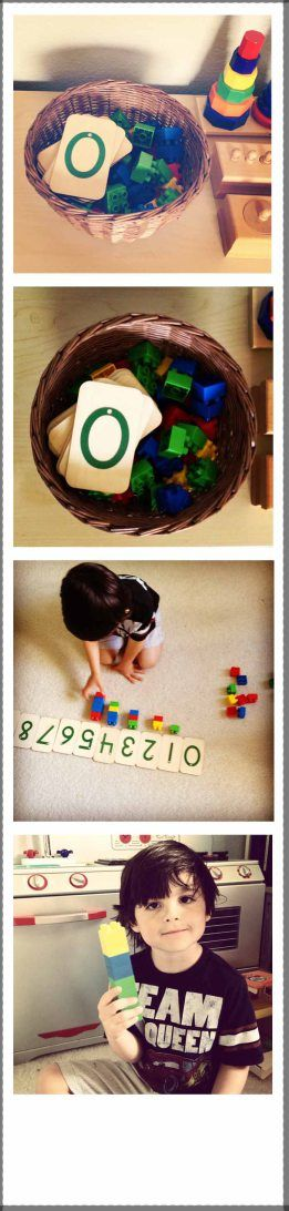 montessori counters - basket of manipulatives with number cards. kids line up the number cards and place the appropriate set underneath!