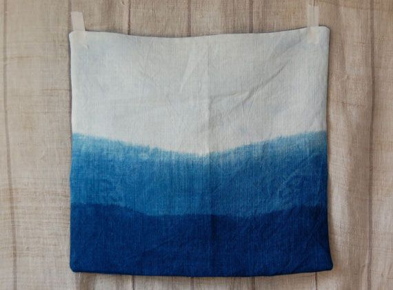 welling indigo pillow cover made from organic cotton hemp fabric, hand-dyed naturally with indigo