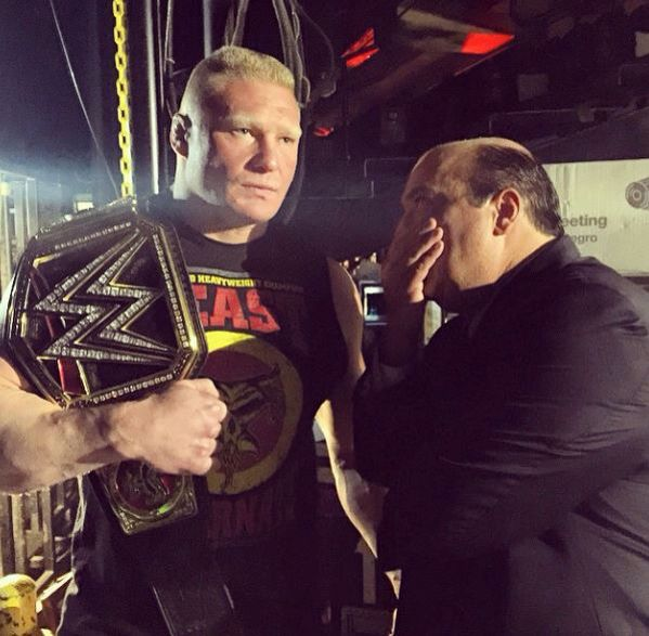 WWE World Heavyweight Champion Brock Lesnar with Paul Heyman, 2015.