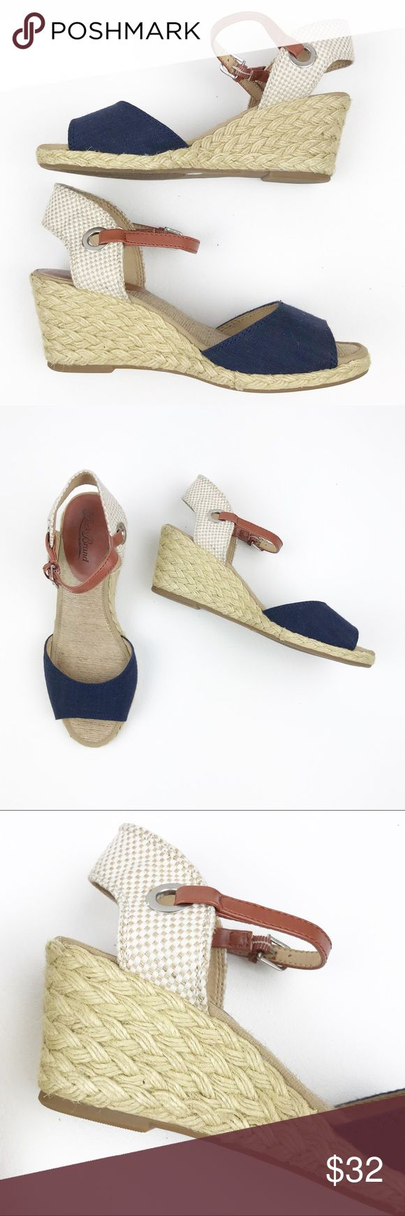 "Lucky Brand Kyndra Navy Espadrille Wedge Sandals 7 Lucky Brand Kyndra Navy Espadrille Wedge Heel Sandals Ankle Strap Womens 7  Lucky Brand ""Kendra"" cork wedges Navy / Brown  Size 7 Insole: 9.5"" Heel: 2.5""  Light wear on inner sole of one shoe - shown in photos. Does not affect wear  Good pre-owned condition Lucky Brand Shoes Espadrilles"